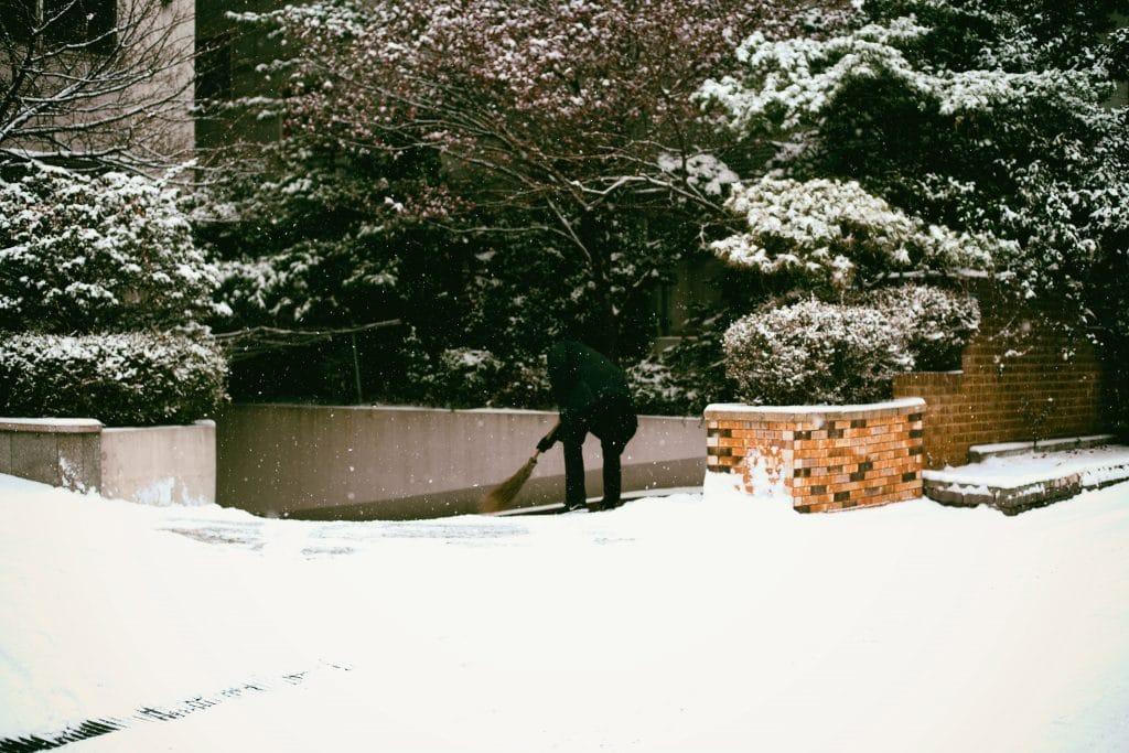 Un jardinier en train d'entretenir son jardin sous la neige