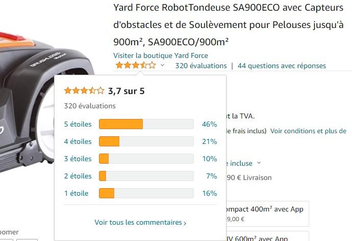 avis utilisateurs Yard Force SA900ECO Amazon