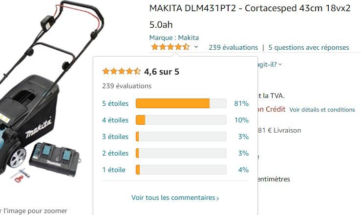 avis utilisateurs Makita DLM431PT2 Amazon